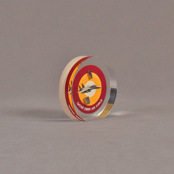 """Angle view of 3 1/2"""" circle acrylic embedment with full color image"""