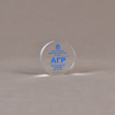 """Front view of 3"""" circle acrylic embedment with blue image"""