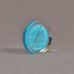 """Angle view of 4"""" circle acrylic embedment with cast medical stent"""