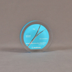 """Front view of 4"""" circle acrylic embedment with cast medical stent"""