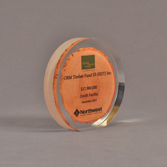 "Angle view of 5"" circle acrylic embedment with printed wood chip"