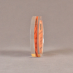 """Side view of 5"""" circle acrylic embedment with printed wood chip"""