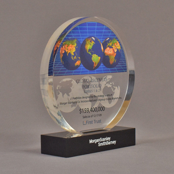 "Angle view of 6"" circle acrylic embedment with full color globe image - shown with optional base."