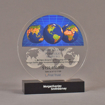 """Front view of 6"""" circle acrylic embedment with full color globe image - shown with optional base."""