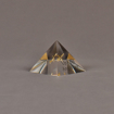 "Angle View of 3"" x 3"" pyramid acrylic embedment award with brass model of airplane cast inside."