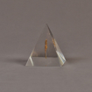 """Side view of 3 1/2"""" x 4 1/2"""" pyramid acrylic embedment award with bronze images cast inside"""