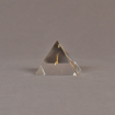 "Side view of 3"" x 3"" pyramid acrylic embedment award with brass model of airplane cast inside."