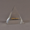 "Front view of 5"" x 6"" pyramid acrylic embedment award with Highland Little Theatre text cast inside."