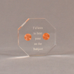 """Front view of 4"""" x 4"""" octagon acrylic embedment award with two pennies cast in acrylic highlighted with laser engraving."""