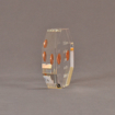 """Side view of 4"""" x 4"""" octagon acrylic embedment award with two pennies cast in acrylic highlighted with laser engraving."""