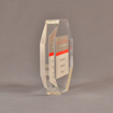 """Side view of 5"""" x 5"""" hexagon acrylic embedment award with Janus Institutional Assets tagline cast in clear acrylic."""