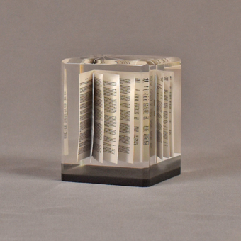 """Angle view of 2 3/4"""" prospectus book acrylic embedment award with document mounted in clear acrylic."""