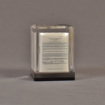 """Front view of 2 3/4"""" prospectus book acrylic embedment award with document mounted in clear acrylic."""