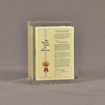 """Front view of 3 1/4"""" prospectus book acrylic embedment award with document mounted in clear acrylic."""