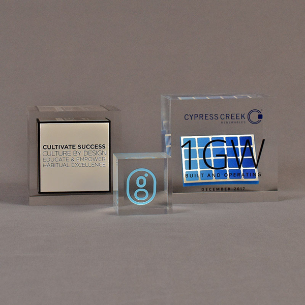 Three cube shaped acrylic embedment awards showing clarity of cast objects into crystal clear acrylic.