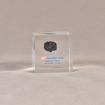 """Front view of 2 1/2"""" cube acrylic embedment award with small piece of coal cast in clear acrylic."""
