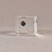 """Side view of 2 1/2"""" cube acrylic embedment award with small piece of coal cast in clear acrylic."""