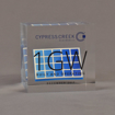 """Front view of 4"""" cube acrylic embedment award with mock solar panel cast into crystal clear acrylic."""