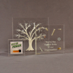 Three square acrylic embedment awards showing clarity of cast objects in crystal clear acrylic.