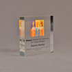 """Angle view of 5"""" square acrylic embedment award with Stryker logo and acetate printed text cast into acrylic."""