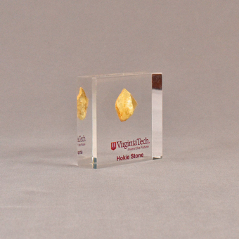 """Angle view of 3 1/2"""" square acrylic embedment award with Virginia Tech logo and a hokie stone cast in acrylic."""