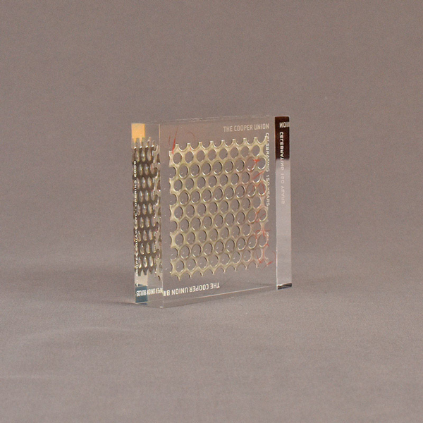 """Angle view of 4"""" square acrylic embedment award with metal screen and Cooper Union cast in clear acrylic."""