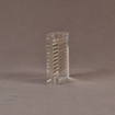 """Side view of 4"""" square acrylic embedment award with metal screen and Cooper Union cast in clear acrylic."""