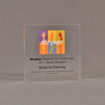 """Front view of 5"""" square acrylic embedment award with Stryker logo and acetate printed text cast into acrylic."""