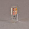 """Side view of 5"""" square acrylic embedment award with Stryker logo and acetate printed text cast into acrylic."""