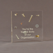 """Front view of 5 1/2"""" square acrylic embedment award with nuts and bolts cast into crystal clear acrylic."""