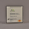 """Front view of 6"""" square acrylic embedment award with Sound Comunications logo and text cast in acrylic."""