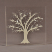 "Front view of 7"" square acrylic embedment award with Tree of Life cast into crystal clear acrylic."