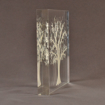 "Side view of 7"" square acrylic embedment award with Tree of Life cast into crystal clear acrylic."