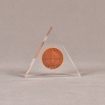 "Front view of 4"" triangle acrylic embedment award with copper coin mounted in clear acrylic."