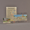 Three rectangle acrylic embedment awards showing clarity of objects, images and logos cast into crystal clear acrylic.
