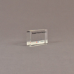 "Angle view of 2"" x 3"" rectangle acrylic embedment award with medical tissue markers cast in acrylic."
