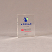 "Front view of 3 1/2"" x 3"" rectangle acrylic embedment award with VERSAR logo and text cast into acrylic."