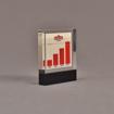 "Angle view of 3 1/2"" x 4"" rectangle acrylic embedment award with Sobieski Vodka growth chart cast into acrylic."