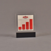 """Front view of 3 1/2"""" x 4"""" rectangle acrylic embedment award with Sobieski Vodka growth chart cast into acrylic."""