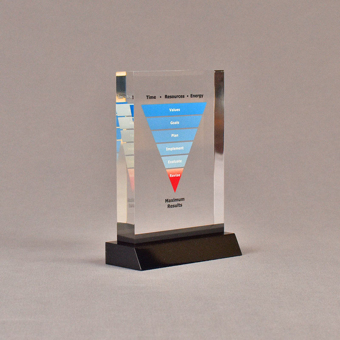"""Angle view of 3 1/2"""" x 5"""" rectangle acrylic embedment award with maximum results graph cast into acrylic."""