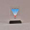 """Front view of 3 1/2"""" x 5"""" rectangle acrylic embedment award with maximum results graph cast into acrylic."""