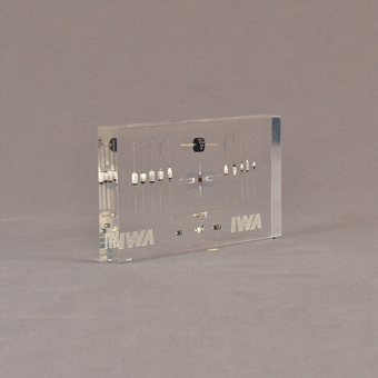 """Angle view of 3 1/2"""" x 6"""" rectangle acrylic embedment award with anodes & diodes cast into clear acrylic."""