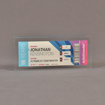 """Front view of 3 1/2"""" x 7"""" rectangle acrylic embedment award with Ticketmaster ticket cast into crystal clear acrylic."""