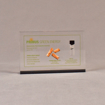 """Front view of 4"""" x 6"""" rectangle acrylic embedment award with wood pellets and oil vial cast into clear acrylic."""