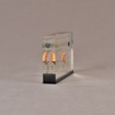 """Side view of 4"""" x 6"""" rectangle acrylic embedment award with wood pellets and oil vial cast into clear acrylic."""