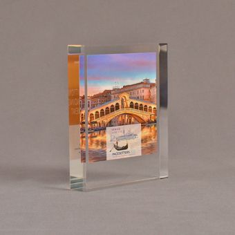 """Angle view of 4 1/2"""" x 5"""" rectangle acrylic embedment award with Venice Pacesetters logo and photo cast into acrylic."""