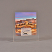 "Front view of 4 1/2"" x 5"" rectangle acrylic embedment award with Venice Pacesetters logo and photo cast into acrylic."