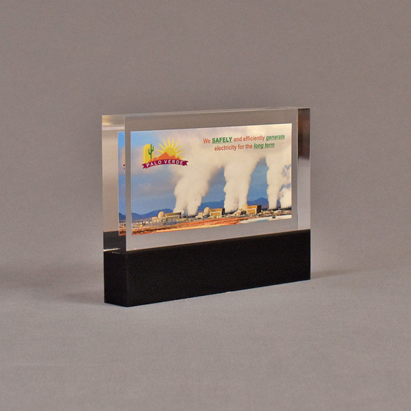 "Angle view of 4 1/2"" x 6"" rectangle acrylic embedment award with Palo Verde promotional photo cast in acrylic."