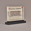 """Angle view of 5"""" x 6"""" rectangle acrylic embedment award with CIT Railcar Litigation ruling cast into clear acrylic."""