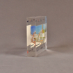 """Side view of 5"""" x 7"""" rectangle acrylic embedment award with Capital at Brickwell logos cast into clear acrylic."""